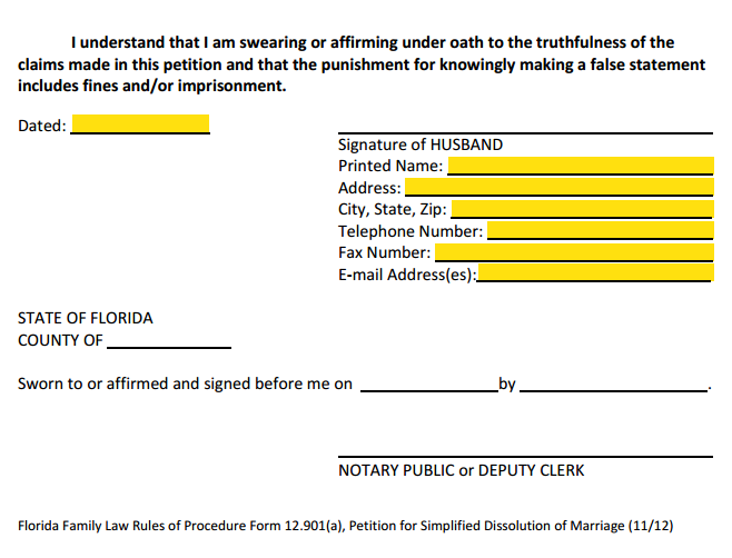 Petition For Simplified Divorce Signature Section