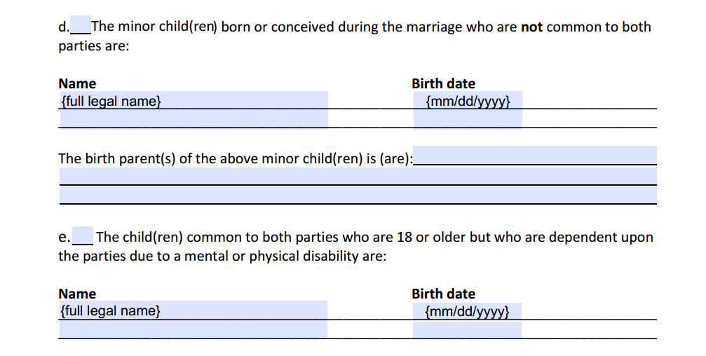 Petition For Dissolution of Marriage With Children Paragraph 4d and 4e