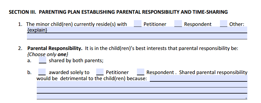 DOM Section 3 Parenting Plan