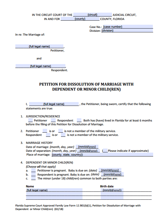 PDF Fillable Form 12.901(b)(1) Dissolution of Marriage with Children