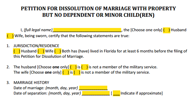 Petition For Dissolution of Marriage With Property Paragraphs 1 to 3