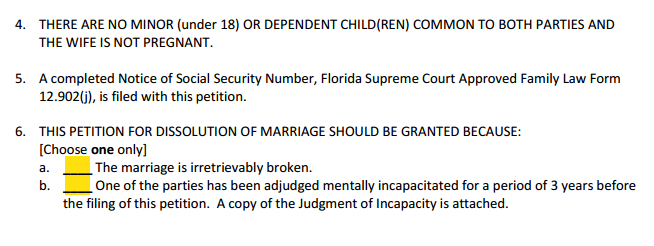 Petition For Dissolution of Marriage With Property Paragraphs 4 to 6