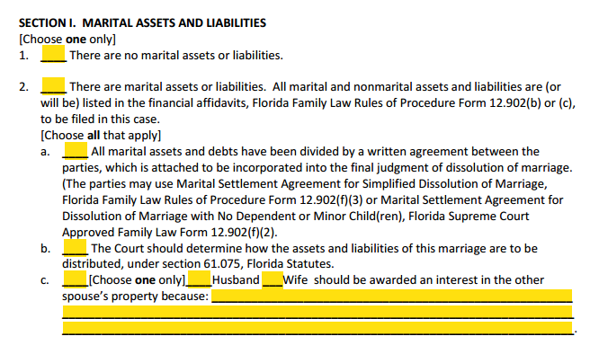 Petition For Divorce With Property Section 1 Marital Assets and Liabilities