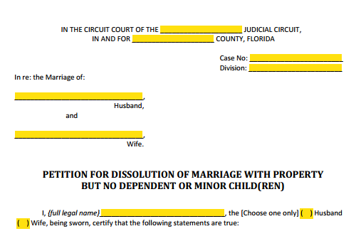 Petition For Dissolution of Marriage With Property Style (Heading)