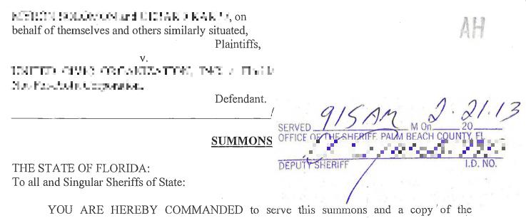 Florida Summons & Complaint